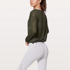 Lululemon Lean In Long Sleeve Dark Olive Size 12